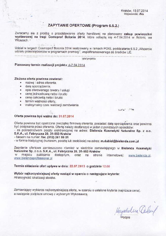 Nabór ofert na zakup powierzchni wystawienniczej –Cosmoprof Bolonia 2014