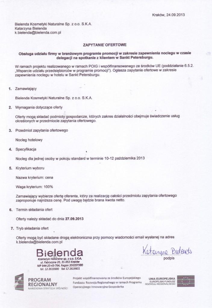 Nabór ofert na zapewnienie noclegu w hotelu podczas podczas wyjazdu służbowego do Sankt Petersburga.