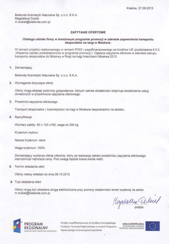 Nabór ofert na organizację transportu eksponatów na tragi Intercharm Moskwa 2013.